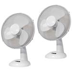 "Pair of Prem-I-Air 12"""" (30cm) White Oscillating Desktop Fans"